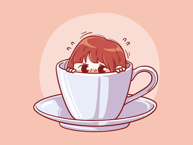 Cute and kawaii girl afraid or shy hide in a cup of coffee manga chibi illustration