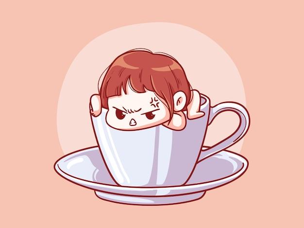 Ragazza carina e kawaii arrabbiata che esce da una tazza di caffè manga chibi illustrazione