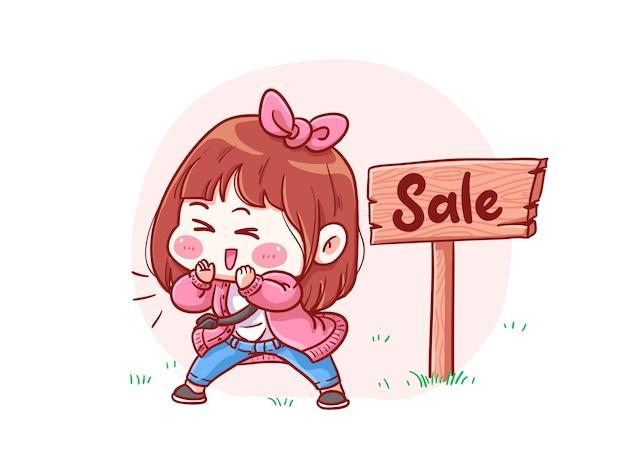 Ragazza carina e kawaii che annuncia l'illustrazione di chibi di manga in vendita