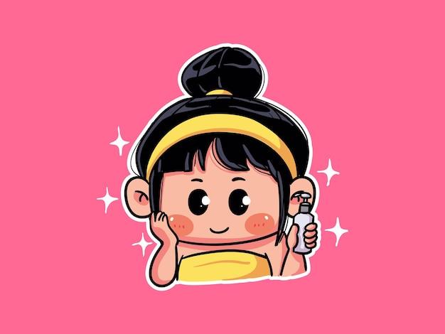 Ragazza carina e kawaii applica lozione di bellezza per l'illustrazione di chibi manga di routine per la cura della pelle