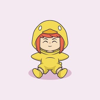 Ragazza carina kawaii in costume da anatra bambino
