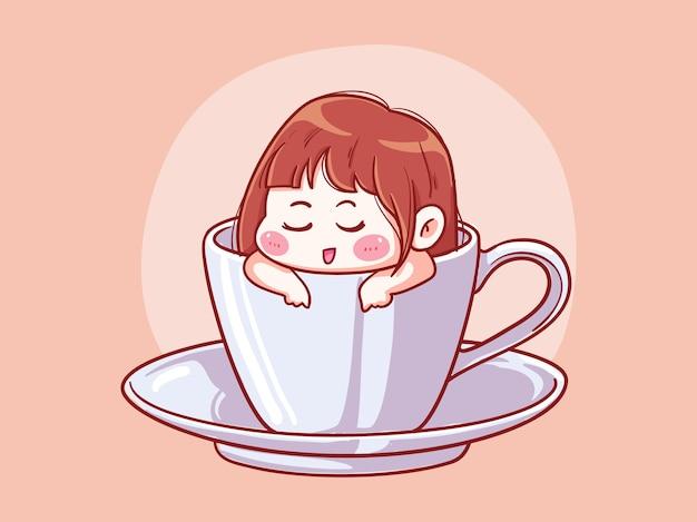 Ragazza carina e kawaii rilassarsi e immergersi in una tazza di caffè manga chibi illustration