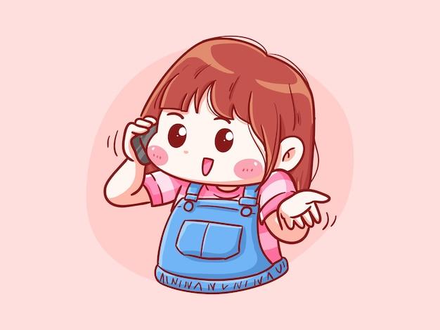 Ragazza carina e kawaii parla al telefono manga chibi