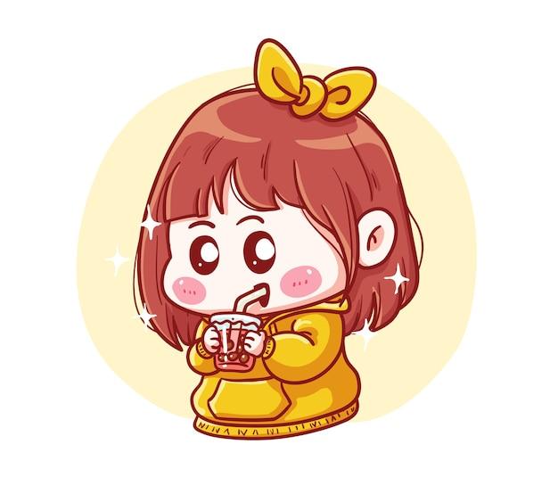 Ragazza carina e kawaii in felpa con cappuccio gialla beve boba milk tea manga chibi illustration
