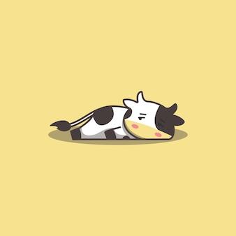 Mucca pigra annoiata di doodle disegnato a mano sveglio di kawaii