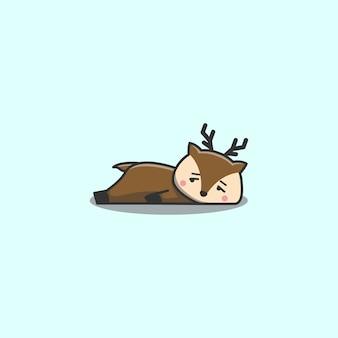 Cervo pigro annoiato doodle disegnato a mano sveglio di kawaii