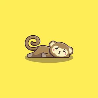 Scimmia pigra annoiata di doodle disegnato a mano sveglio di kawaii