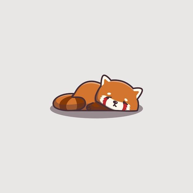 Panda rosso pigro annoiato doodle disegnato a mano sveglio di kawaii