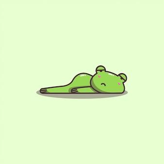 Mascotte della rana pigra e annoiata di doodle disegnato a mano sveglio di kawaii