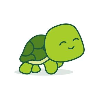 Carino kawaii disegnato a mano tartaruga scarabocchi lettering piccola tartaruga isolata su sfondo bianco stampa