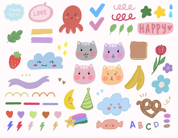 Simpatico set di adesivi coreani kawaii con arte doodle gatto per elemento note diario proiettile