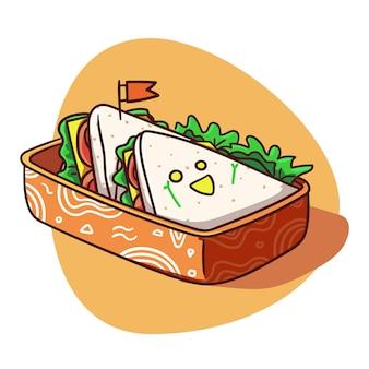 Illustrazione variopinta del panino del menu della scatola di pranzo sveglio e kawaii