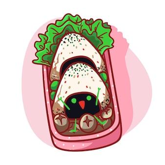 Scatola da pranzo carina e kawaii con illustrazione colorata del menu onigiri