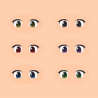 Occhi di anime manga kawaii carino
