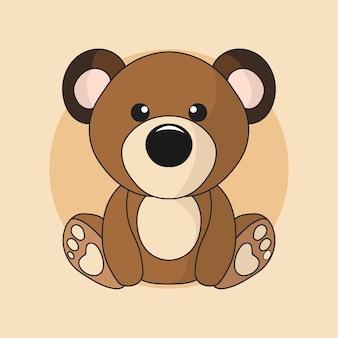 Simpatico personaggio dei cartoni animati della mascotte kawaii orsacchiotto seduto