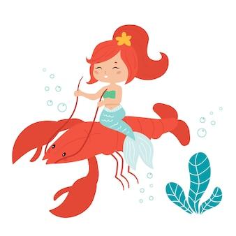 Carino sirena kawaii cavalca l'aragosta.