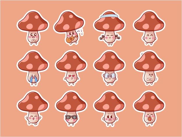 Cute kawaii mushroom character illustration varie attività set di badge per mascotte happy expression