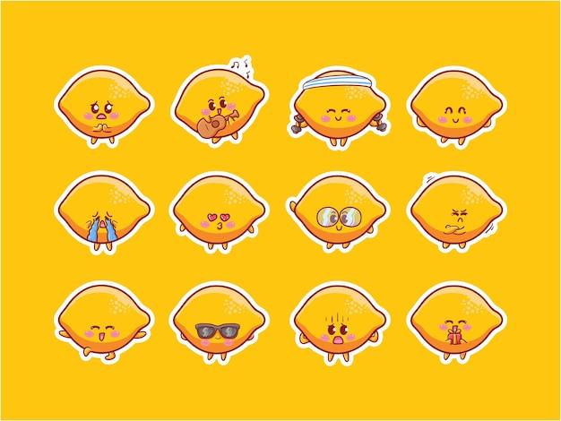 Cute kawaii old phone radio character illustration set di badge per mascotte di varie attività di espressione