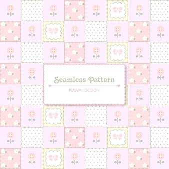 Carino kawaii colori pastello patch seamless pattern