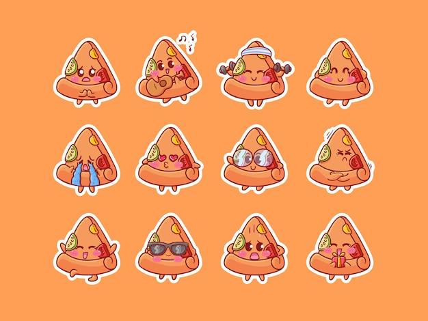 Cute kawaii pizza character stickers illustrazione con varie attività di espressione felice per mascotte