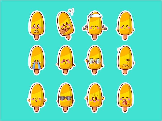 Cute kawaii ghiacciolo ice character illustrazione varie attività set di badge mascotte happy expression