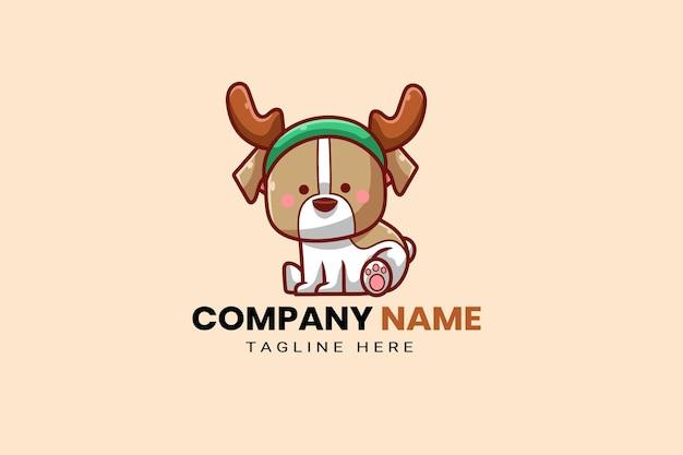Carino kawaii cucciolo corgi cane mascotte cartone animato logo modello icona illustrazione disegnata a mano