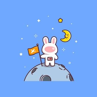 Cute kawaii rabbit astronaut holding flag on planet
