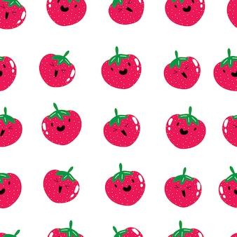 Simpatico motivo kawaii di frutta estiva alla fragola senza cuciture modello di bacche sorridenti di frutta