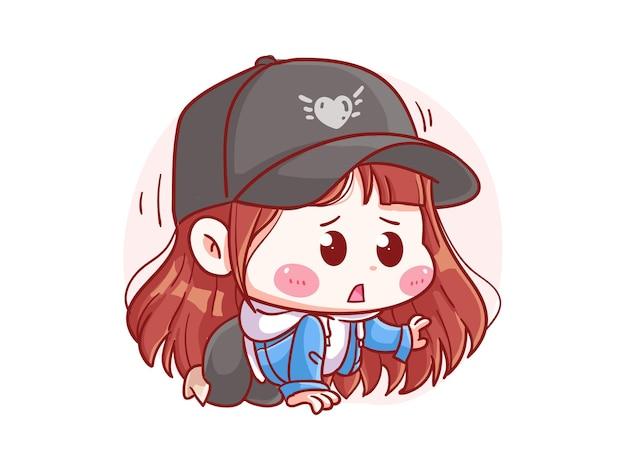 Cute and kawaii stylish girl crawl with scared expression manga chibi illustration