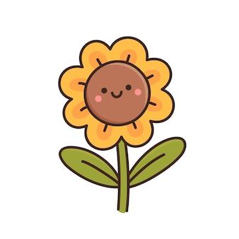 Simpatico girasole kawaii in stile cartone animato