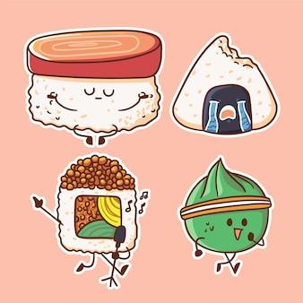 Illustrazione di carattere carino e kawaii sushi