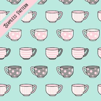 Modello senza cuciture di tazze da tè kawaii carino
