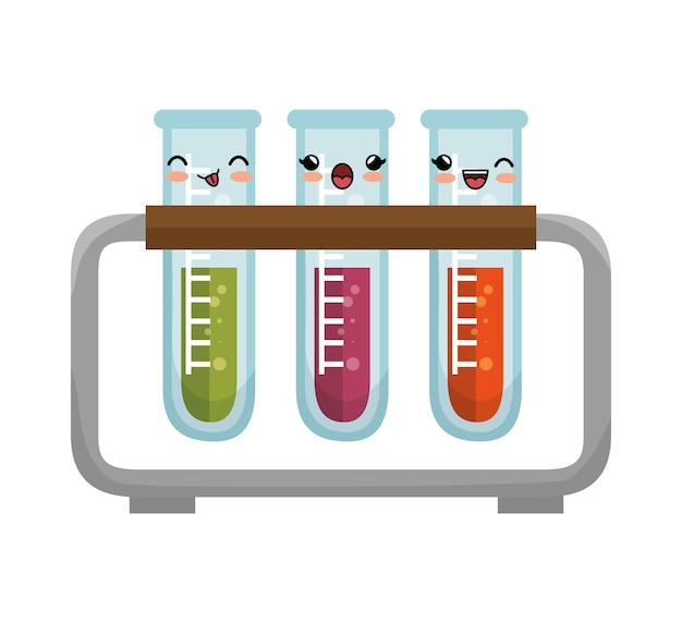 Simpatico kawaii test tube rack design dell'icona