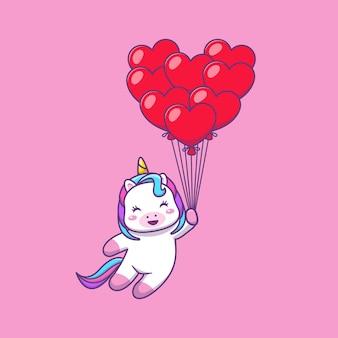 Simpatico unicorno kawaii che vola con palloncini cuore fumetto illustrazione