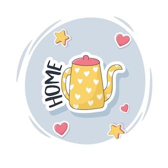 Simpatico bollitore con roba a forma di cuore per carte adesivi o toppe decorazione cartoni animati