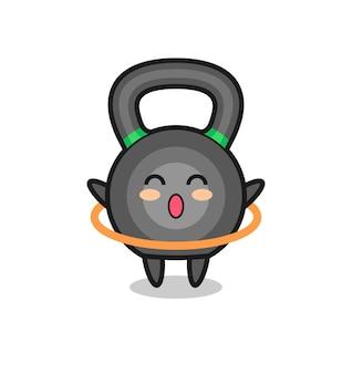 Simpatico cartone animato con kettleball sta giocando a hula hoop, design in stile carino per maglietta, adesivo, elemento logo