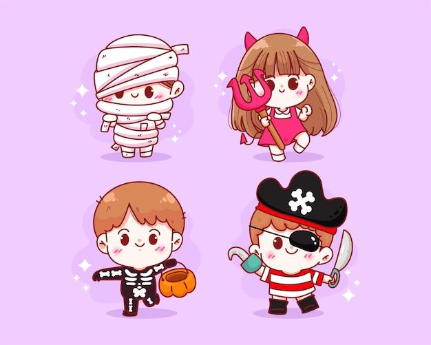 Simpatico personaggio in costume per bambini illustrazione disegnata a mano di arte del fumetto di raccolta di celebrazione di festa di halloween felice