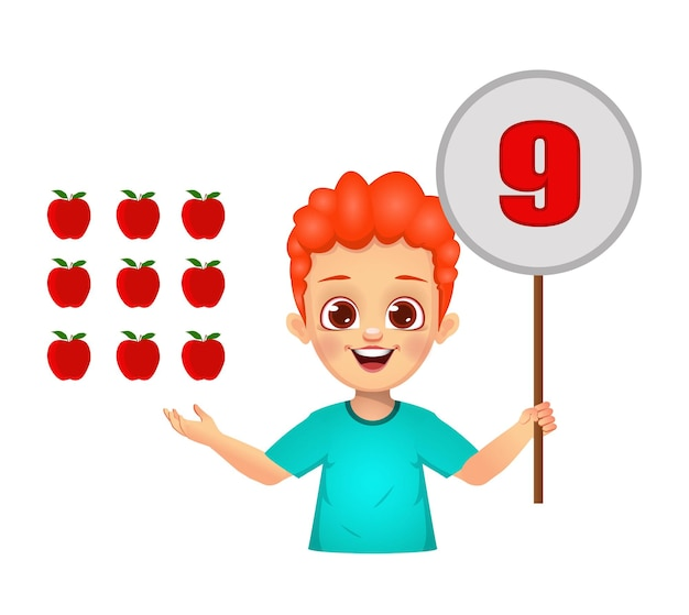 Ragazzo carino che conta i numeri mostrando il tabellone numerico. isolato