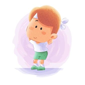 Bambino sveglio che fa attività di yoga di forma fisica della palestra di sport con lo stretching. illustrazione del fumetto dell'acquerello