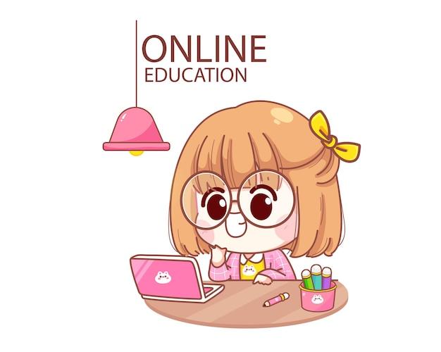 Bambino sveglio che studia felice in linea con l'illustrazione del fumetto del computer portatile del computer