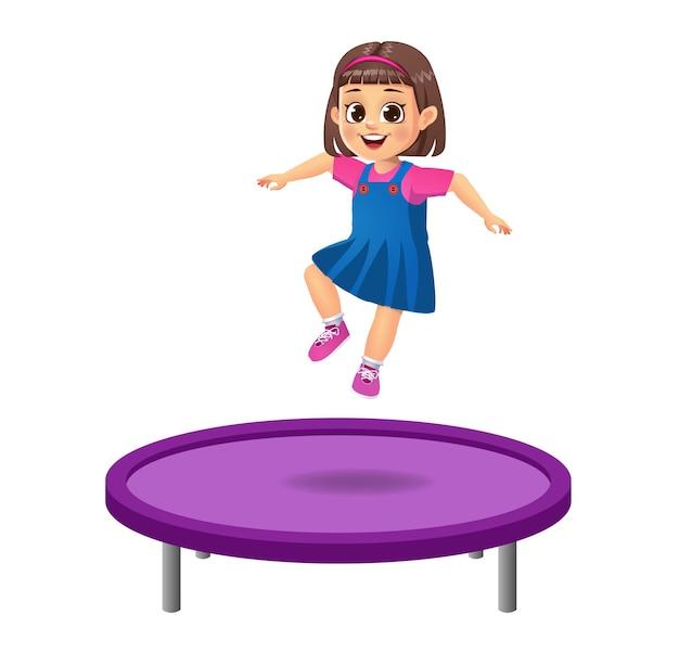 Ragazzo carino saltare sul trampolino. isolato
