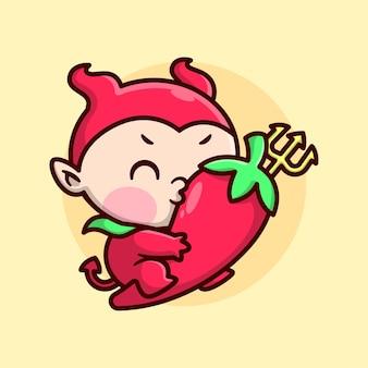 Bambino sveglio in costume da diavolo rosso cavalca un grande peperoncino rosso e lo bacia disegno di mascotte fumetto di alta qualità