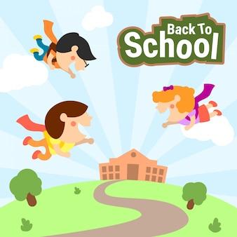 Illustrazione sveglia dei bambini di nuovo a scuola