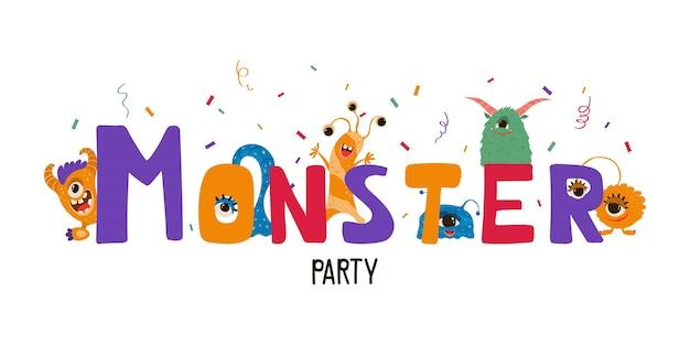 Banner di bambini carino con mostri in stile cartone animato. modello di invito a una festa con personaggi divertenti. biglietto di auguri per una vacanza, compleanno.