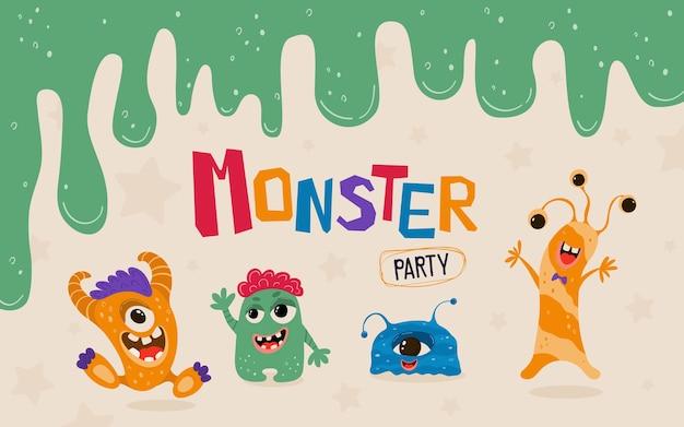 Banner di bambini carino con mostri in stile cartone animato. modello di invito a una festa con personaggi divertenti.