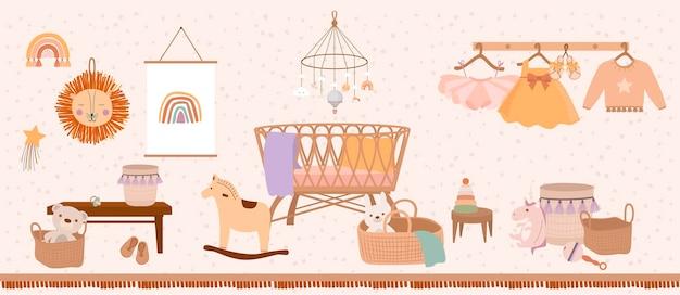 Interno camera da letto per bambini carino in stile cartone animato bohémien.
