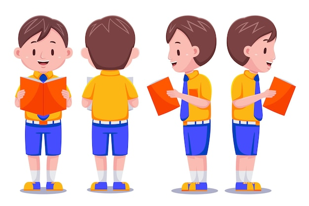 Libro di lettura di caratteri di studente ragazzo carino bambini in diverse pose.