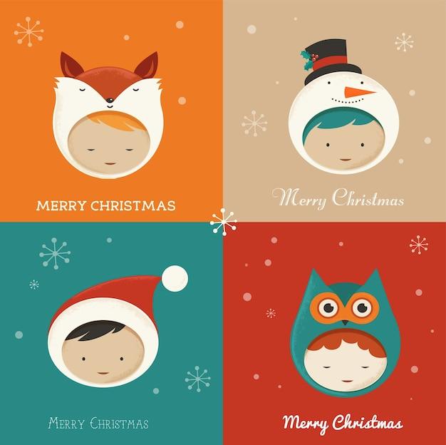 Set di simpatici bambini in costumi natalizi