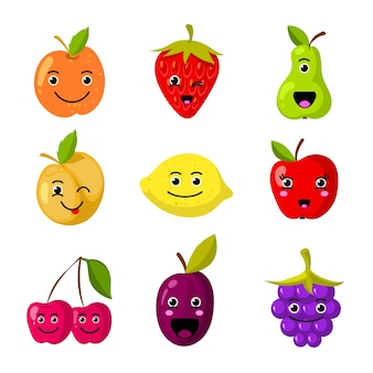 Simpatici personaggi di frutta per bambini con facce sorridenti divertenti. fronte del fumetto della frutta dolce, illustrazione della vitamina della frutta dell'alimento