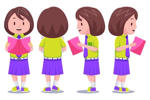 Libro di lettura di caratteri di studentessa ragazza carina bambini in diverse pose.